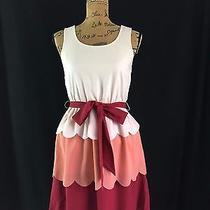 New Doe & Rae Dress Size S Blush Peach Burgundy Scallop Tier Layer Belt Nwt  Photo