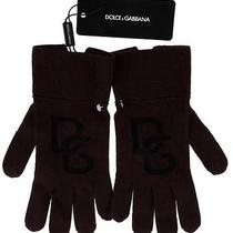 New Dolce & Gabbana Brown d&g Logo Knit 100% Wool Gloves M Photo