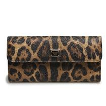 New Dolce & Gabbana Womens Wallet Brown Leopard Print Leather Authentic D0116 Photo