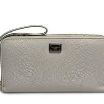 New Dolce & Gabbana Womens Zippered Wristlet Wallet Light Gray Authentic D0081 Photo
