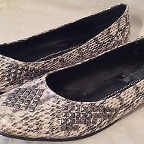 New Dolce Vita 9.5 Silver & Gray Snakeskin Stud Accents Leather Flats Shoes Photo