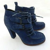 New Dolce Vita Wyatt Women's Navy Blue Suede Lace Up Heels Ankle Booties Sz 7 Photo