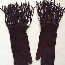 New Donna Karan Collection Burgundy Suede Fringe Gloves 7-1/2 Made in Italy Photo