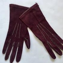 New Donna Karan Collection Burgundy Suede Gloves 7-1/2 Made in Italy Photo