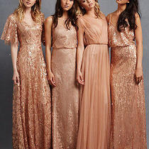 New Donna Morgan Feather Rose Gold Camilla Sequin Flutter Sleeve Gown Dress 14 Photo