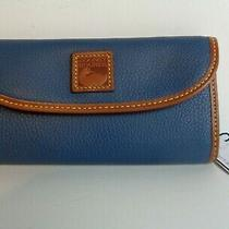 New Dooney & Bourke Blue 'Jeans' Pebble Grain Continental Clutch Wallet Nwt 138 Photo