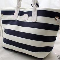 New Dooney & Bourke Navy Blue & White Stripe Shopper Tote Purse Photo