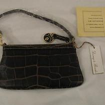 New Dooney & Bourke Wristlet Campbell Slim Leather Croc-Embossed Brown T-Moro Photo