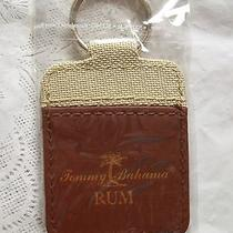 New-Double Sided Brown Leather Tommy Bahama Rum Key Ring Food & Drink   Photo