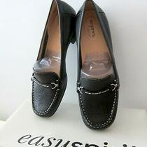 New Easy Spirit Leather Griffin Women Flats Shoes Loafers Black Sz 7 M Photo