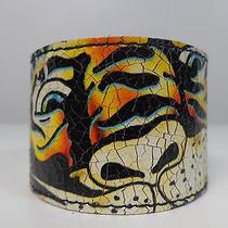 New Ed Hardy Christian Audigier Leather Tiger Bracelet Cuff Wristband  Photo
