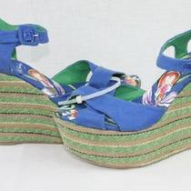 New Ed Hardy Christy Blue Floral Tattoo Wedge Sandal Sz 7 Photo