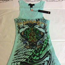 New Ed Hardy Womens  Shirt  Size S Color Aqua Women's Ribbed Tank Top Photo