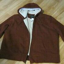 New Eddie Bauer Brown Cotton Faux Sheepskin Men's Hoodie Jacket Size Xxl Photo