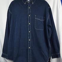 New Eddie Bauer Mens Heavy Flannel Indigo Dyed Denim Shirt Sz Xl Button Down N61 Photo
