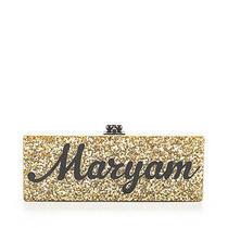 New Edie Parker Black Gold Metallic Shimmer Maryam Hinge Clutch Handbag 1795 Photo