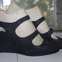 New Eileen Fisher Black Suede Wmns Wedge Sandals Stretch Gorgeous Htf Us 10 Uk41 Photo