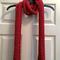 New Eileen Fisher Lacquer Red Handknit Cord Scarf in Merino Wool Photo