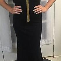 New Elegant Black Gold Accent Mermaid Flowy Sleeveless Prom Dress Formal Gown  Photo