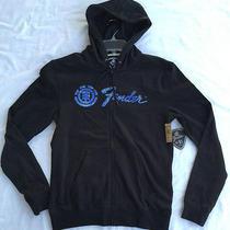 New Element Fender Guitar Logo Zip-Up Hoodie Sweatshirt Black M6035pic Men's S Photo