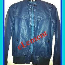 New Element Fender Navy Leather Bomber Jacket-Size Small Photo