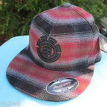 New Element Skate Ball Cap Hat Mens Flexfit 1sz S M L Black Red Plaid Flannel Photo