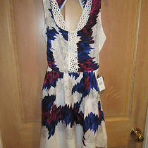 New Element Sz S Mini Dress Boho 54 Retail Lace Detail White Blue Purple Photo
