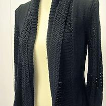 New Elie Tahari Black Crochet Knit Sweater Cardigan Top Extra Small Xs Photo