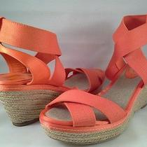 New Elie Tahari Celeste Espadrille Orange Wedge Heel 3
