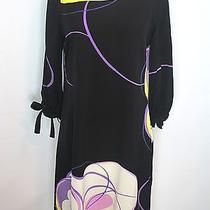 New Elie Tahari Women Black Yellow Purple White Silk Enya Tunic Dress S 348 Photo