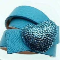 New Eliza Gray Reversible  Italian Leather Belt Swarovski Heart Buckle Blue Pink Photo
