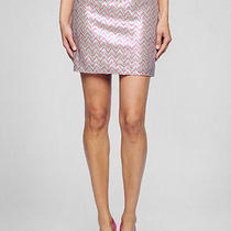 New Ella Moss Mesh Sequin Pink Joliet Straight Mini Skirt 10 Photo