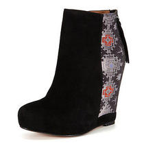 New Ella Moss Sz7 Janelle Ankle Suede Black High Heel Wedge Bootie  Photo