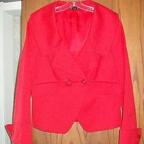 New Ellen Tracy 525 Red Texture Cotton Shawl Collar French Cuff Fitted Jacket 4 Photo