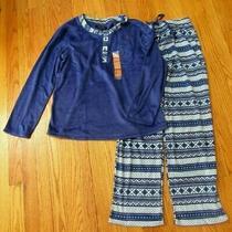 New Ellen Tracy Soft Microfleece Pj Pajamas Set Blue Nordic Pattern Medium M Photo