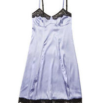 New Else Brand Lingerie Purple Silk Chemise Slip With Black Lace Detail Sz Small Photo