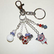 New England Patriots Purse Charm Key Ring Chain Gemstonemother of Pearlcrystal Photo