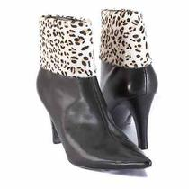 New Enzo Angiolini Women Ankle Blk Leather Pony Hair High Heel Boot Shoe Sz 6 M Photo