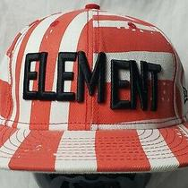 New Era Element Mens Baseball Cap Hat Cotton Red White Stripe Fitted 7 1/4 Photo