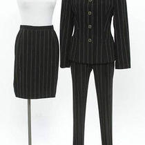 New Escada 3pc Black Pinstripe Wool Jacket  Skirt and Pant Set Size 34 Us Size 4 Photo