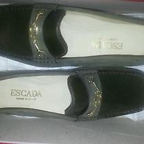 New Escada Green Suede Leather Lacquer Gold Tone Hardware Loafers Moccasins Sz 6 Photo