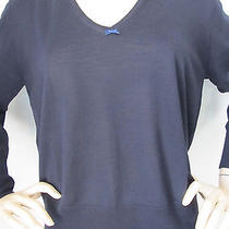 New Escada Knit Size M Womens Sweater Navy Blue Virgin Wool and Silk Photo