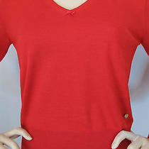 New Escada Knit Size Xl Womens Sweater Red Virgin Wool and Silk Photo