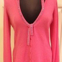 New Escada Rhinestone Applic Cardigan 100% Cashmere Sweater Size10 Made in Italy Photo