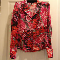New Escada Silk Pink Red Top Blouse Shirt Sz 42 (Us 8) M L  Photo