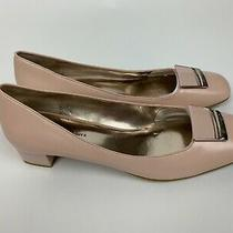 New Etienne Aigner Blush Pink Leather Kitten Low Heels Shoes 9 Medium M Photo