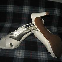 new.etienne aigner.e-ophelia.female White Lacquer Heeled sandals.sz.10m.59 Photo