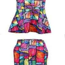 New European Designer  Top Skirt Dress Set Bright Color Large L  8 10 Rare  Photo