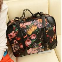 New European Retro Style Lady Handbag Oil Painting Flower Message Shoulder Bag  Photo