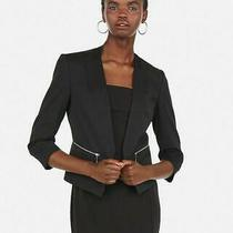 New Express 118 Solid Black Zip Pocket Cutaway Blazer Suit Jacket Sz 00 Photo